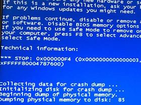 急急急,0x000000F4,电脑蓝屏代码F4。